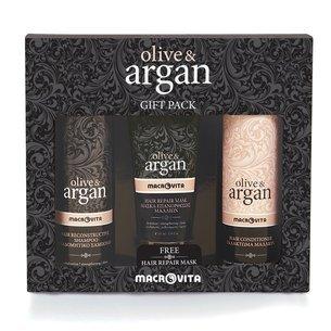 MACROVITA OLIVE & ARGAN GESCHENK-SET: regenerierende Shampoo mit Arganöl 200ml + Haar-Conditioner mit Arganöl 200ml + FREI restaurativen Haarmaske mit Arganöl 100ml