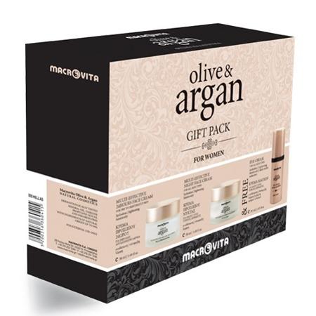 MACROVITA OLIVE & ARGAN GESCHENK-SET: Creme für trockene oder dehydrierte Haut 50ml + Nachtcreme für alle Hauttypen 50ml + FREI Augencreme 30ml