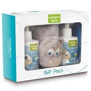 ZESTAW MACROVITA KIDS: naturalny szampon dla dzieci 300ml + naturalny żel pod prysznic dla dzieci 300ml + GRATIS pluszowy hipopotamek przytulanka